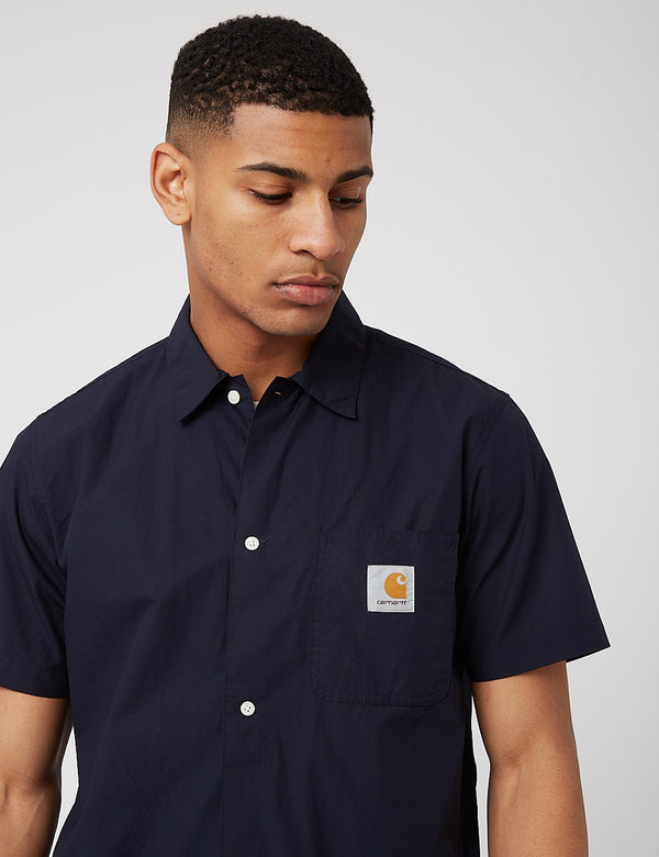 Carhartt-WIP Creek S/S Shirt (Organic Cotton) - Dark Navy Blue