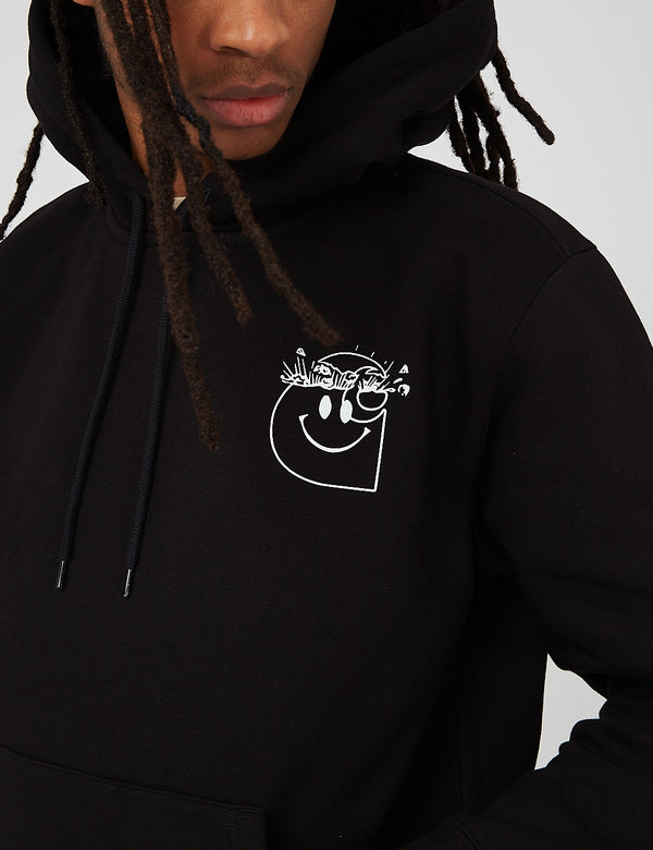 Carhartt-WIP Smiley Hooded Sweat - Black/White