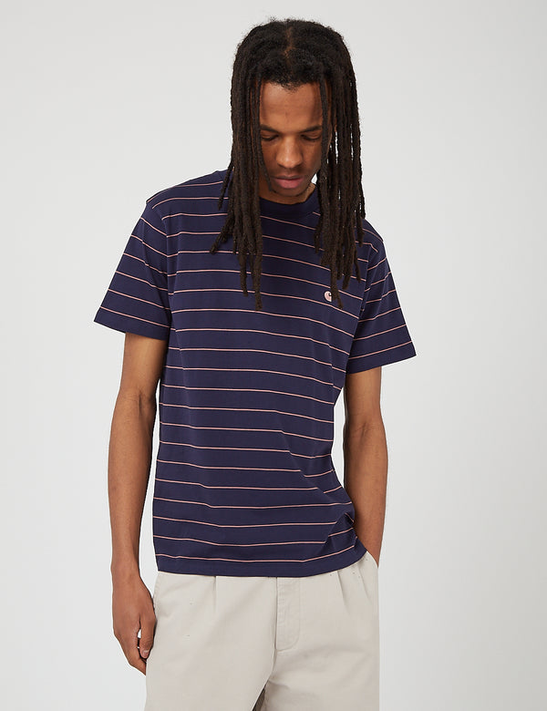 Carhartt-WIP Denton T-Shirt (Denton Stripe) - Space/Malaga