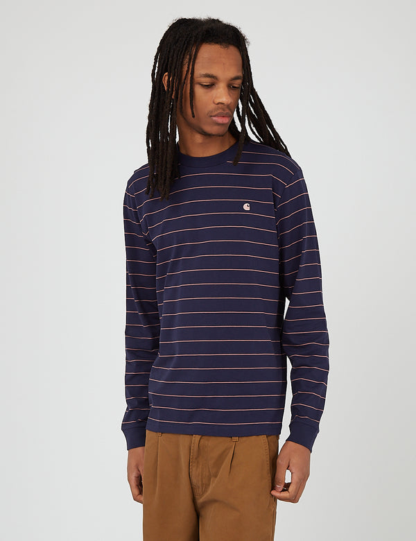 Carhartt-WIP Denton Long Sleeve T-Shirt (Denton Stripe) - Space/Malaga