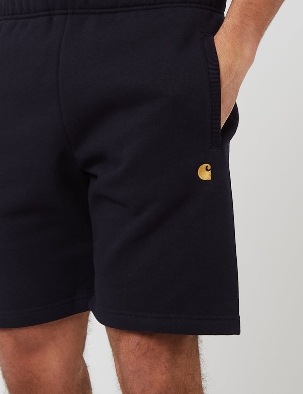 Carhartt-WIP Chase Sweat Shorts (Heavy Sweat, 13oz) - Bleu Marine Foncé