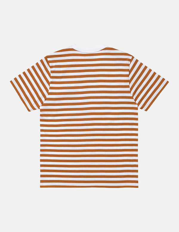 Carhartt-WIP Scotty Pocket T-Shirt (Stripe) - Rum/White