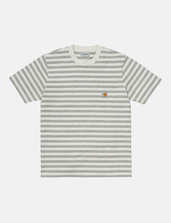 Carhartt-WIP Scotty Pocket T-Shirt (Stripe) - White Heather/Grey Heather