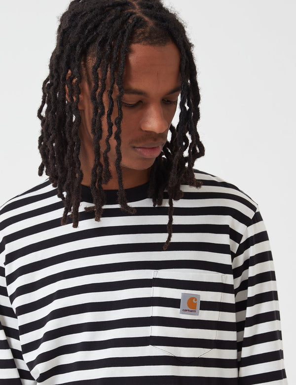 Carhartt-WIP Scotty Pocket Long Sleeve T-Shirt (Stripe) - Black/White