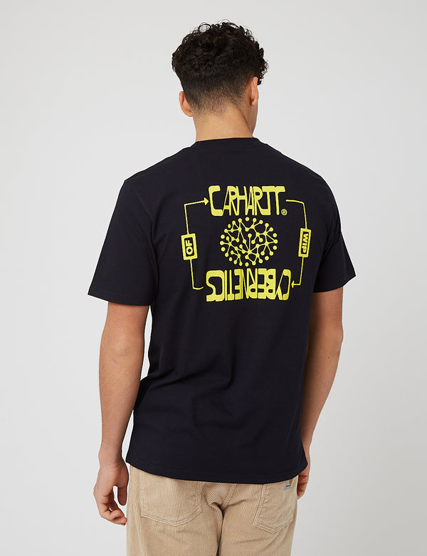 Carhartt-WIP Cybernetics T-Shirt (Organic Cotton) - Dark Navy Blue/Limoncello