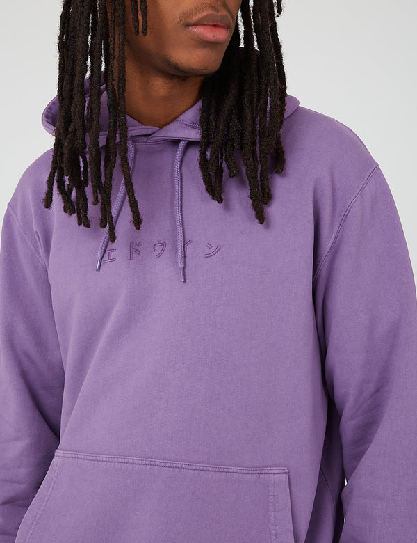 Edwin Katakana Hooded Sweat - Chinese Violet