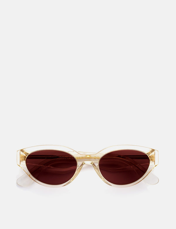 Super Drew Sunglasses - Crystal Clear/Burgundy