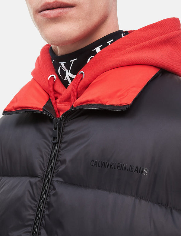 Calvin Klein Oversized Puffer Jacket - Black/Racing Red