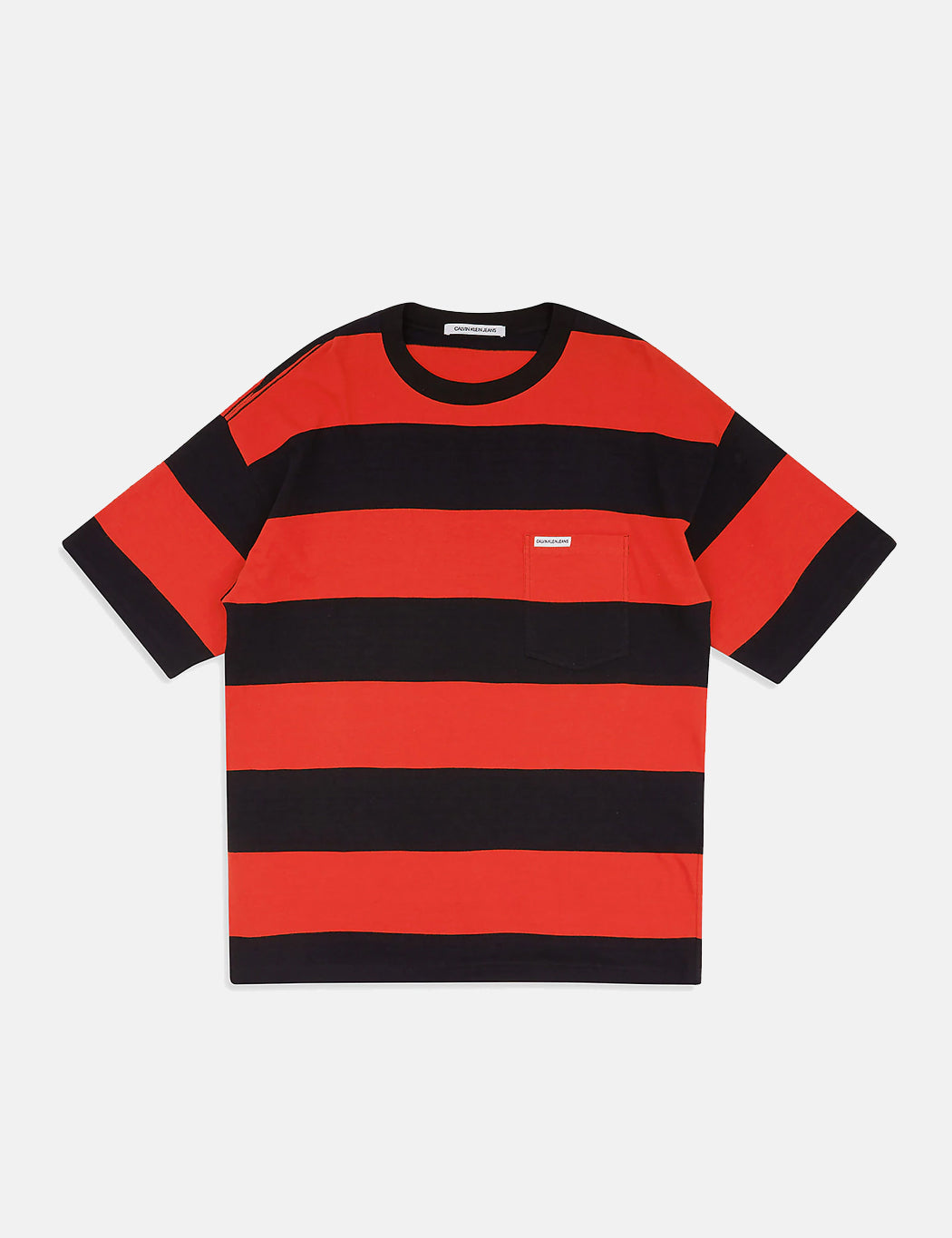 calvin red and black striped shirt
