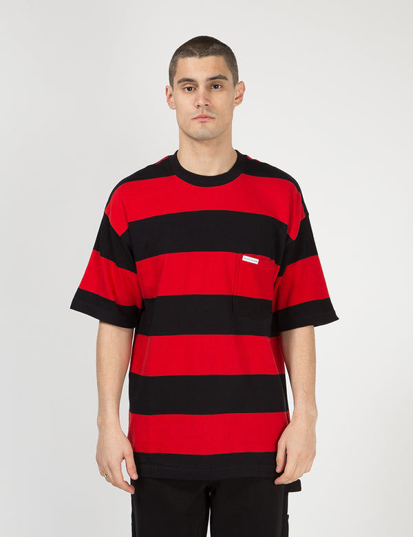 Calvin Klein Relaxed Block Stripe T-Shirt - Black/Racing Red