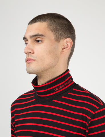 Calvin Klein Stripe L/S Turtleneck - CK Black/Red