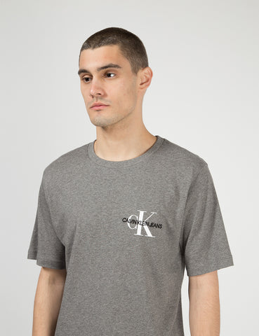 Calvin Klein Monogram Chest Logo T-Shirt - Grey Heather