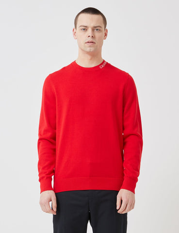 Calvin Klein Institutional Collar Logo Sweater - Racing Red