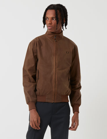 Fred Perry Re-issues Waxed Harrington Jacket - Tobacco Brown