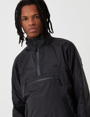 Fred Perry Half Zip Hooded Jacket - Black
