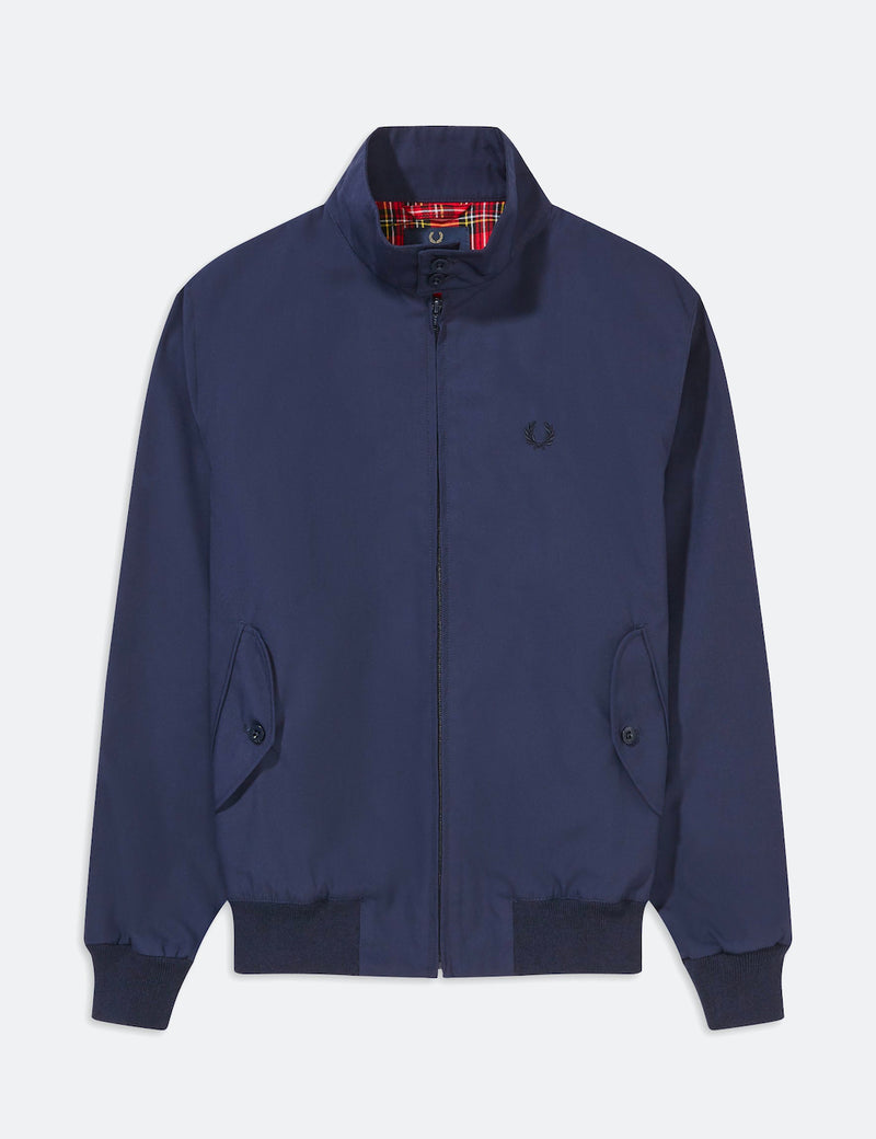 Fred Perry Neuauflagen Harrington Jacke (Made in UK) - Marine-Blau
