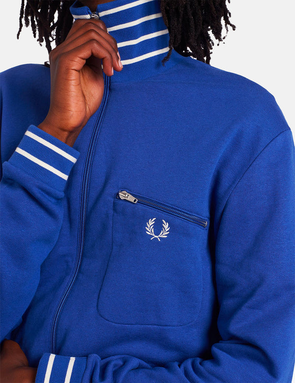 Veste de survêtement à col rayé Fred Perry - Bright Blue