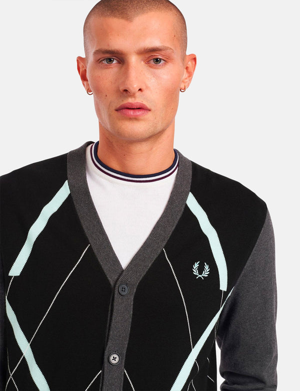 Fred Perry Abstract Argyle Cardigan - Black