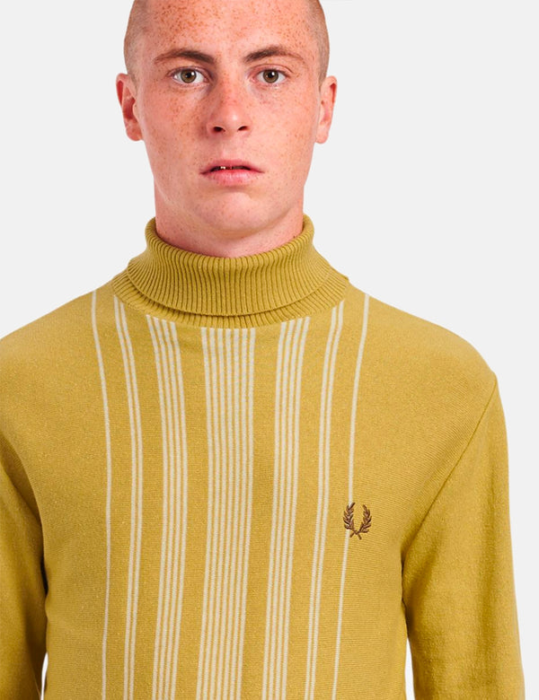 Fred Perry Re-Issue Stripe Knitted Roll Neck - 1964 Gold