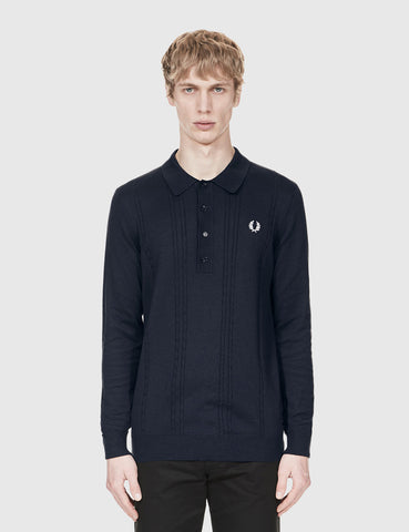 Fred Perry Cable Knit Shirt - Navy Blue