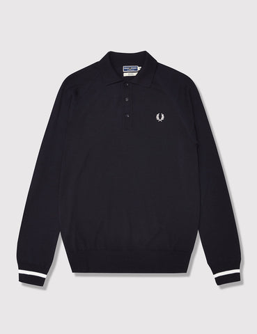 Fred Perry Tipped Cuff Knit Polo Shirt - Navy