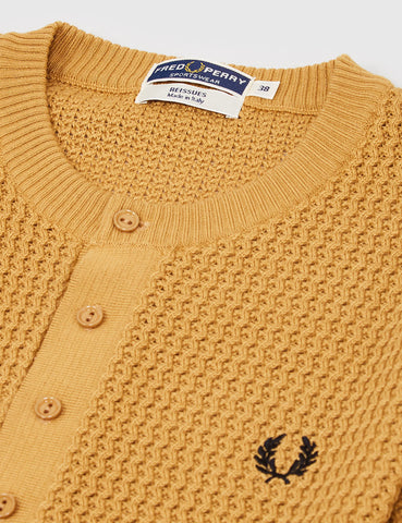 Fred Perry Knitted Button Neck Shirt - 1964 Gold