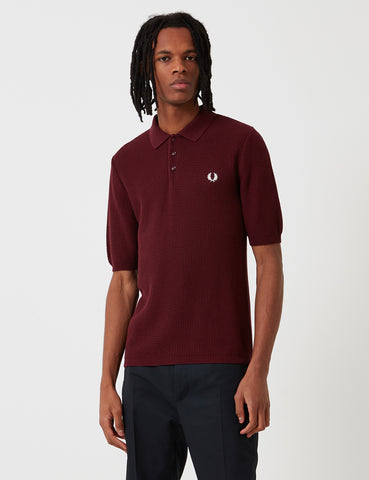 Fred Perry Re-issues Texture Knit Polo Shirt - Aubergine Purple