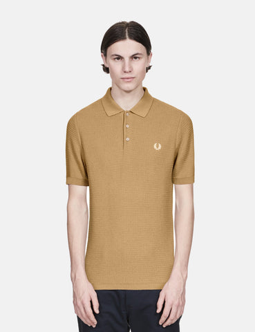 Fred Perry Re-issues Texture Knit Polo Shirt - Biscuit Brown