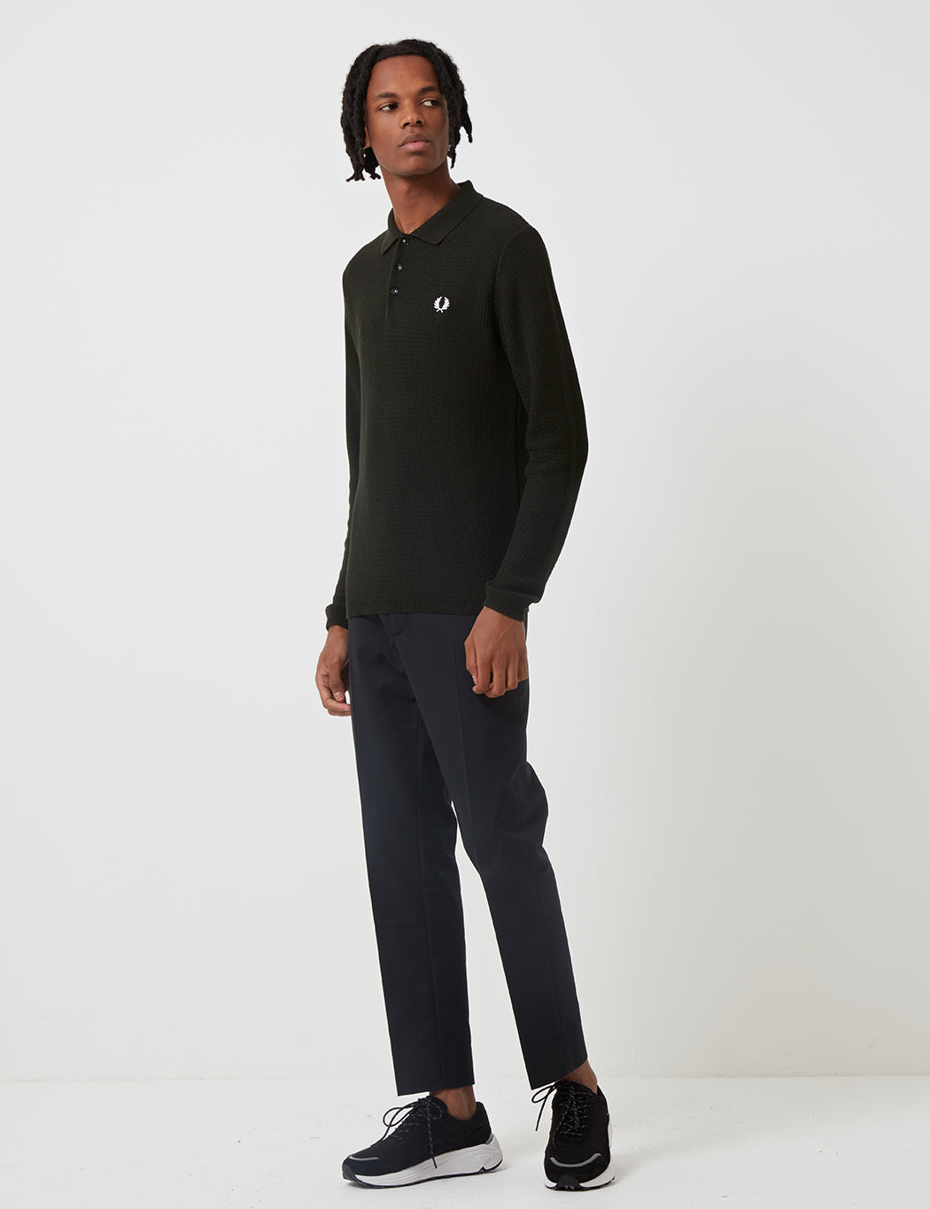 Fred Perry Re-issues L/S Texture Knit Polo Shirt - Hunting Green