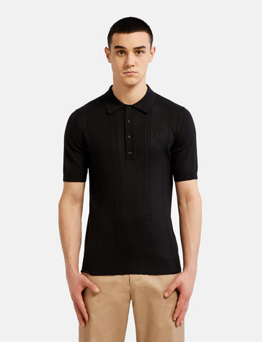 Fred Perry Re-issues S/S Cable Knitted Shirt - Black