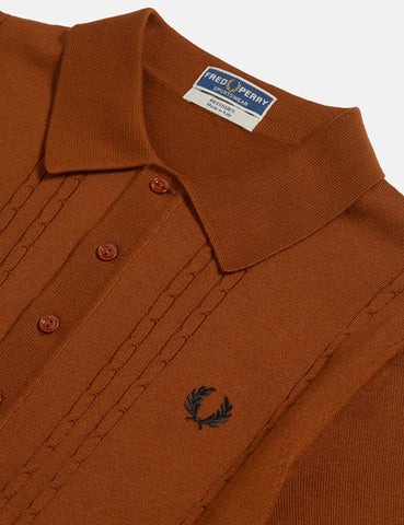 Fred Perry Re-issues S/S Cable Knitted Shirt - Dark Camel