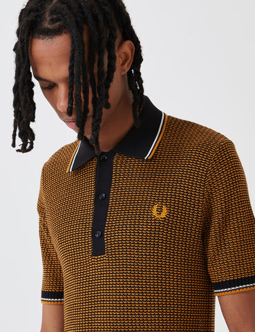 Fred Perry Re-issues Two Colour Texture Knit Shirt - Black/Gold