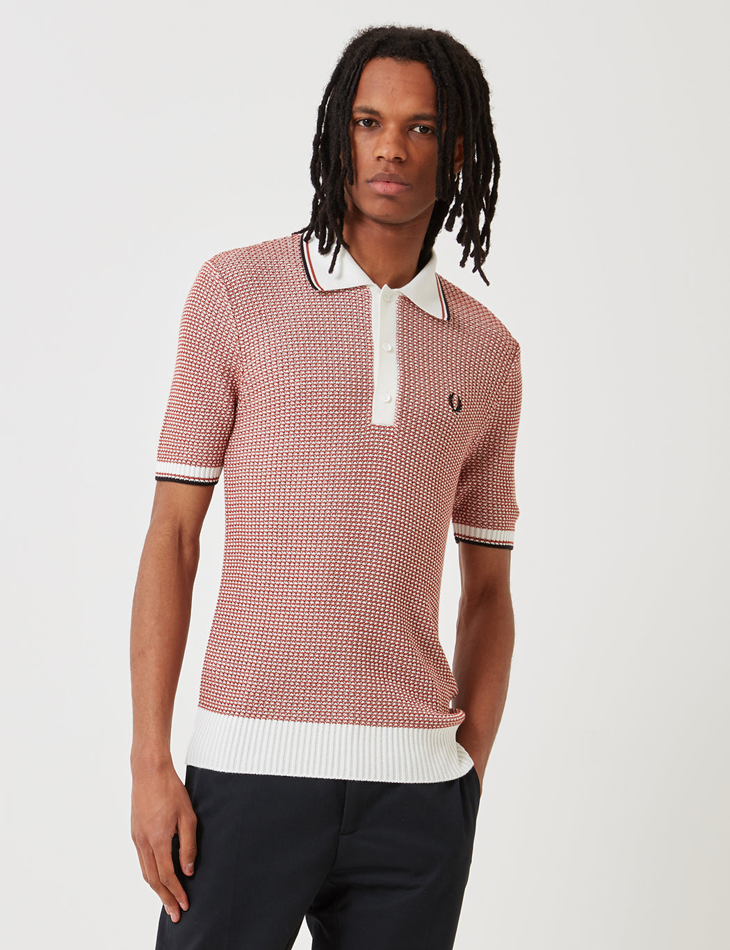 7a4b939e Fred Perry Re-issues Two Colour Texture Knit Shirt in Snow/Paprika