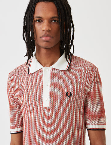 Fred Perry Re-issues Two Colour Texture Knit Shirt - Snow/Paprika