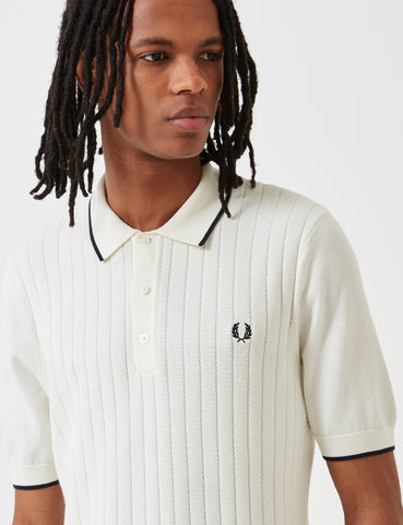 Fred Perry Textured Front Knitted Shirt - Light Ecru