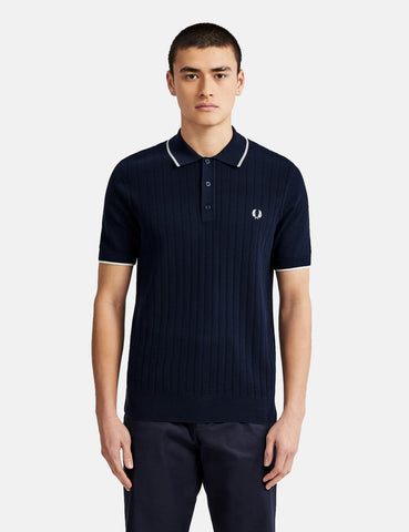 Fred Perry Textured Front Knitted Shirt - Deep Carbon