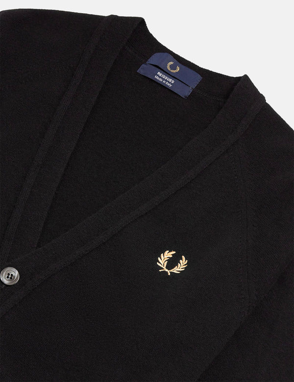 Fred Perry Reissue Lambswool Strickjacke - Schwarz