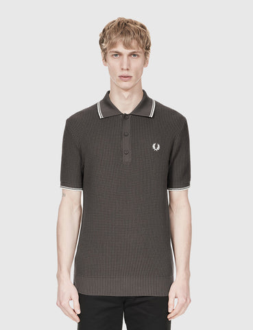 Fred Perry Textured Knitted Polo Shirt - Anthracite Black