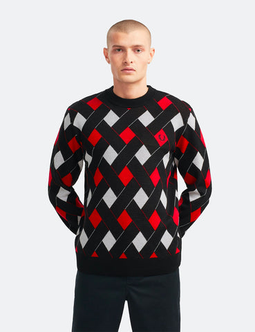 Fred Perry Jacquard Crew Neck Jumper - Black