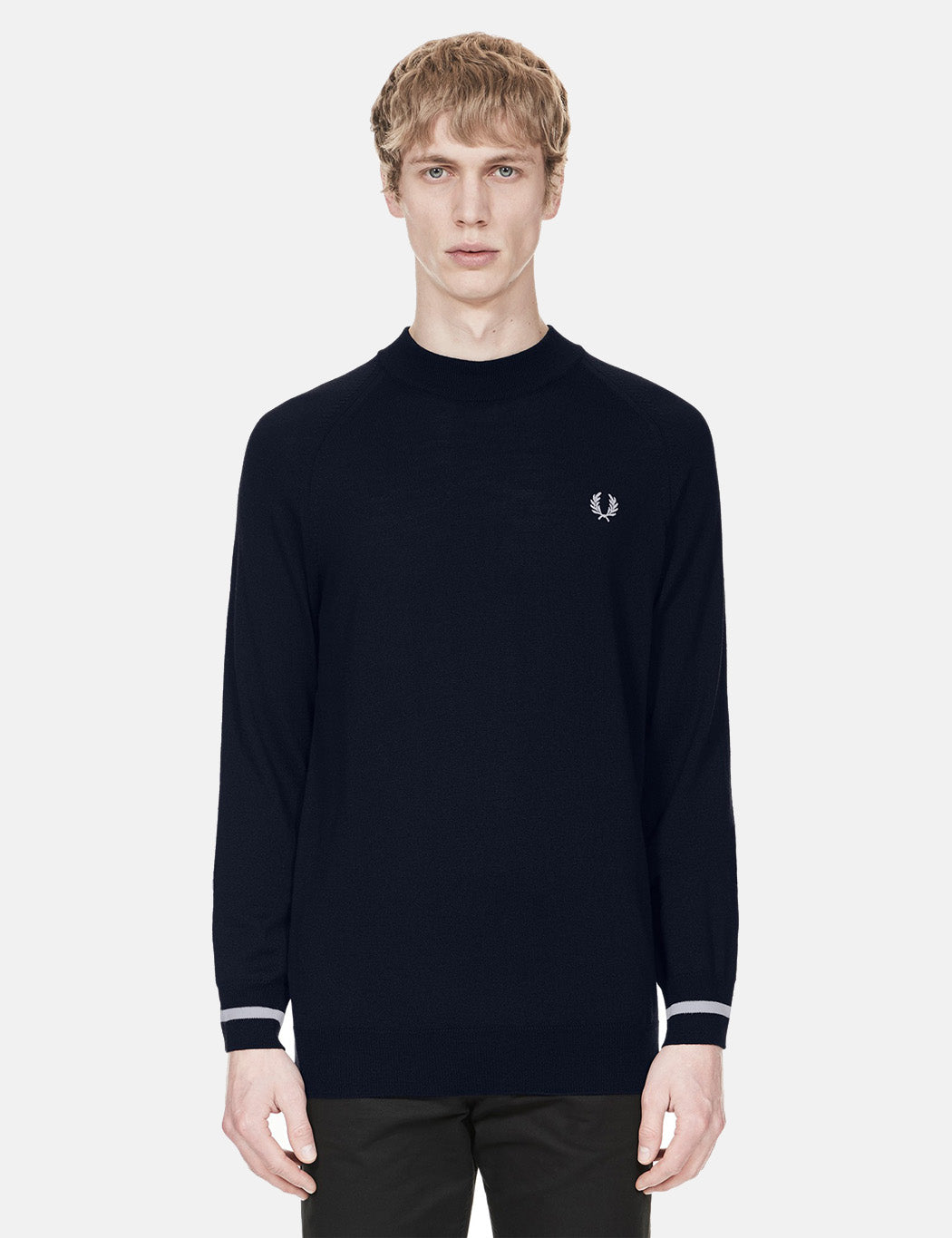 Fred Perry Turtle Neck Knit Jumper - Navy Blue