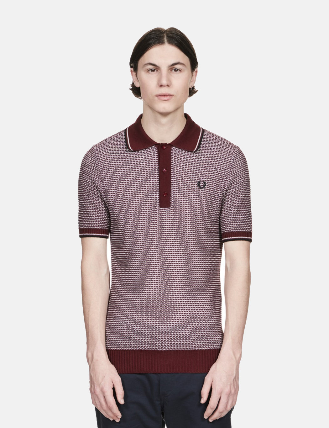 7c38c302 Fred Perry Re-issues Two Colour Knit Shirt - Maroon | URBAN EXCESS.