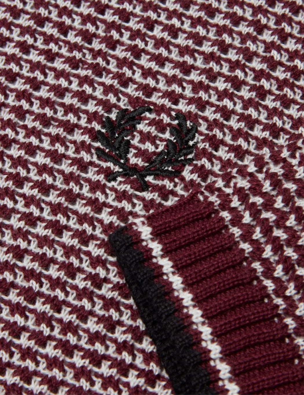 599c4474d98 ... Fred Perry Re-issues Two Colour Texture Knit Polo Shirt - Maroon ...