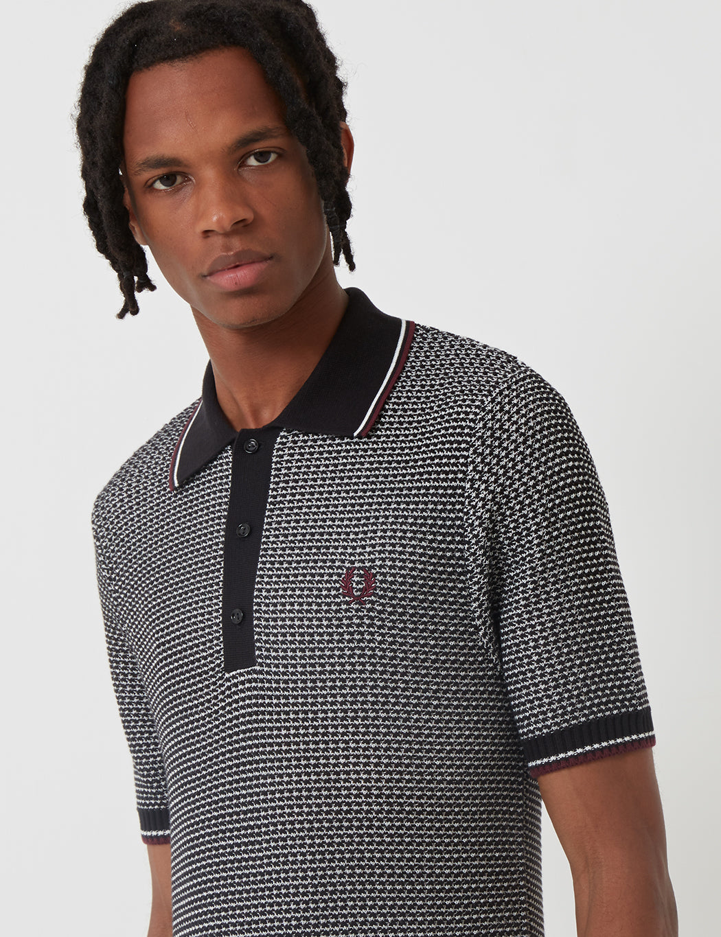 f008003a ... Fred Perry Re-issues Two Colour Texture Knit Polo Shirt - Black ...