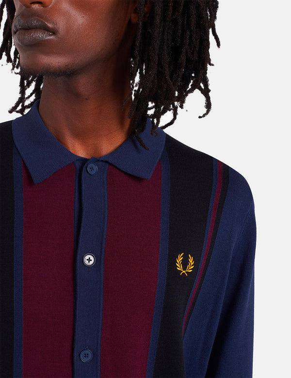 Fred Perry Color Block Strickhemd - Dark Carbon