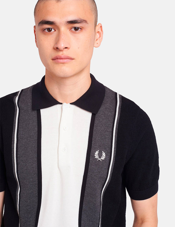 Fred Perry Striped Knitted Shirt - Black