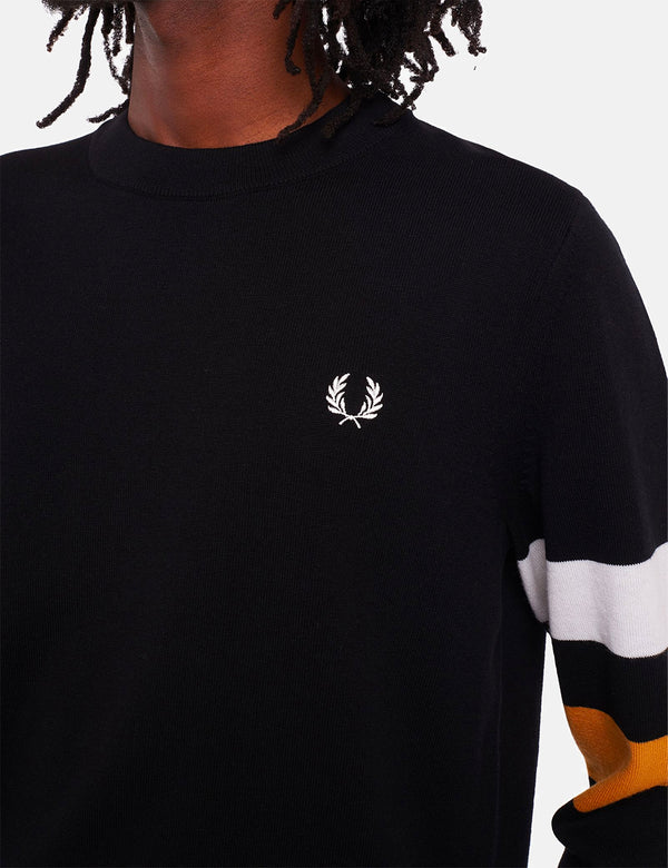 Fred Perry Tipped Sleeve Crew Neck Jumper - Black