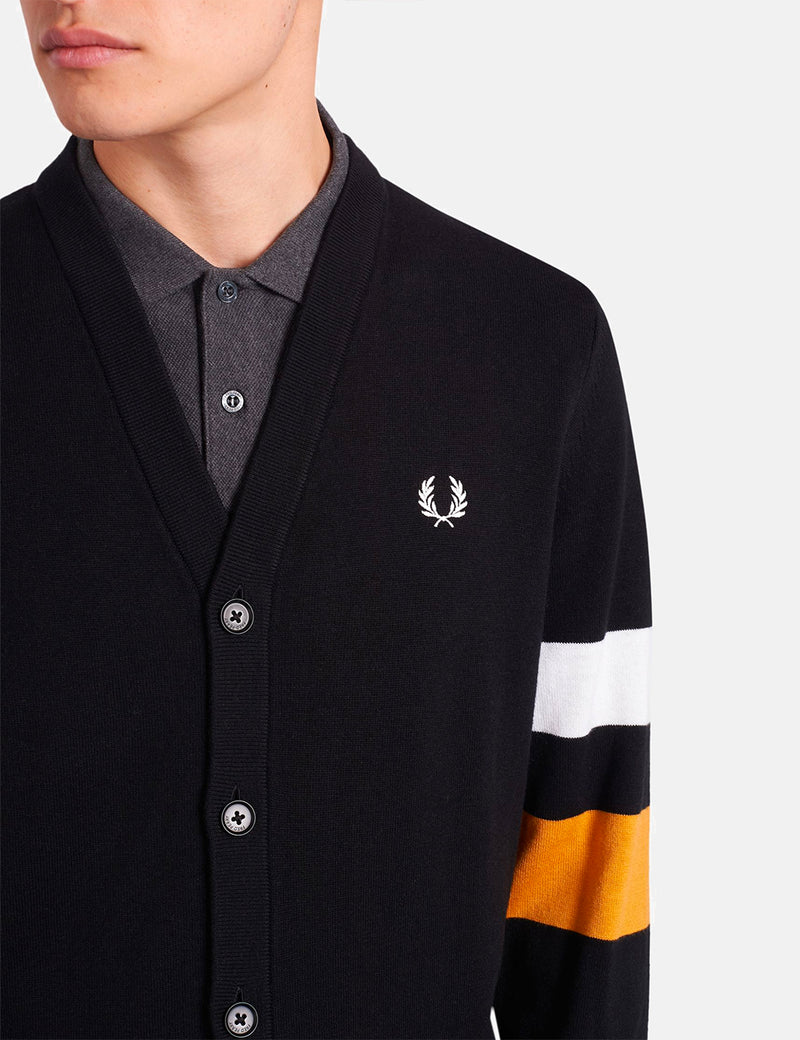 Cardigan Fred Perry Tipped Sleeve - Noir