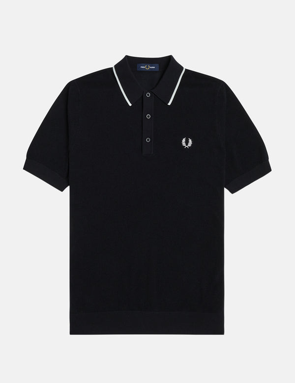 Fred Perry Tipped Knitted Polo Shirt - Black
