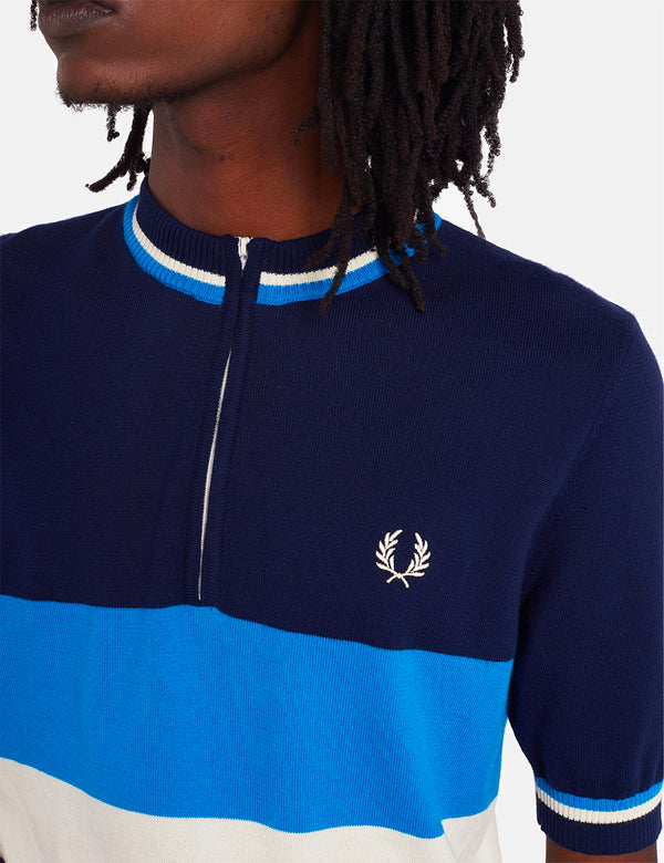 Haut à demi-glissière en tricot Fred Perry Re-Issue - Carbon Blue