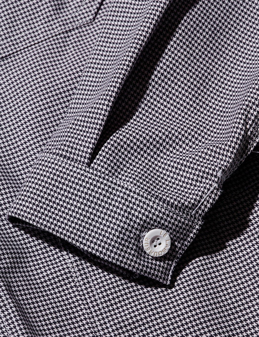 Le Laboureur Houndstooth Cotton Work Jacket - White/Navy
